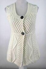 Kenji Handknit Sweater Cardigan Vest Sz S Cream White Wool Blend Knit Small