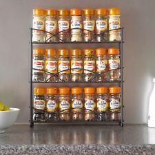 NEGRO NIVEL 3 de pie ESPECIERO BOTE Soporte para almacenaje de cocina armario