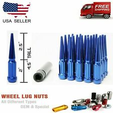"20PC BLUE 14X1.5 SPLINE SPIKE LUG NUT 4.5"" + KEY [FIT: ACURA]"