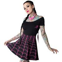 Kreepsville 666, Spiderweb Pink Skater dress, alternative, Gothic clothing