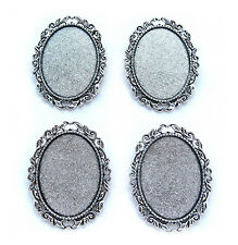 4 Ant Silvertone Leaf & Scroll style 40mm x 30mm CAMEO Pin Brooch Frame Settings