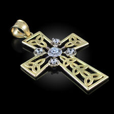 14k Gold Celtic Cross Trinity Knot Diamond Pendant