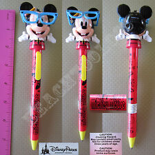 New Authentic Original Disney Red Mickey Mouse Nerd Glasses Figurine Pen - Gift