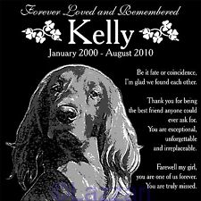 "Personalized Irish Setter Pet Dog Memorial 12""x12"" Custom Granite Grave Marker"