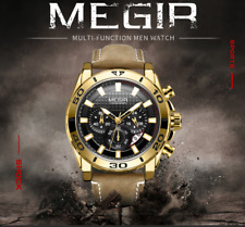 MEGIR Men's Sport Leather Watches Military Chronograph Analog Quartz Wristwatch
