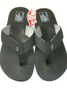 Vans Mens T Street Black Frost Grey Synthetic Ultracush Flip Flop Sandals NWT