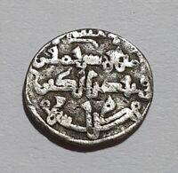MIKNASA MINT 1/2 DIRHAM / QUIRAT Silver Coin ALI IBN YUSUF 0.50g RARE BOTH SIDES