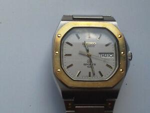 Vintage SEIKO SPORTS 100 Men's Watch 8229-5019 Day/Date Royal Oak