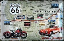Route 66 USA Highway Map Motorbike Car Old Garage Medium 3D Metal Embossed Sign