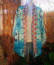 Plus Size Cocoon Embellished Blue / Teal Batwing Kimono Jacket OSFA 16-18-20
