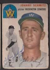 1954 TOPPS SIGNED CARD #33 JOHNNY SCHMITZ SENATORS DEC