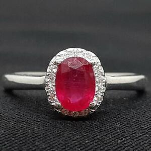 World Class 1.00ctw Mozambique Ruby & Diamond Cut White Sapphire 925 Silver Ring