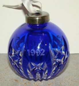 Waterford Marquis 1992 Cobalt Blue Cut To Clear Ball Christmas Ornament