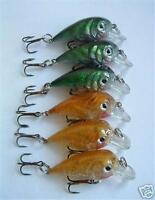 "6 NEW Shallow Diving Fishing Crankbait Lure Lot Bait 2"" treble hooks lures 0.2oz"