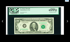LOW SERIAL # CHICAGO Fr. 2164-G $100 1969 Federal Reserve  PCGS Gem New 65 PPQ