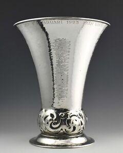 Beautiful Heavy Antique Swedish Silver Trumpet Vase/Trophy - K. Anderson - 561g