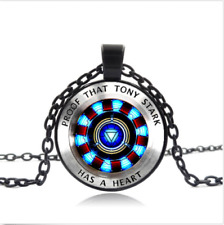 Iron man, Tony Stark Black Glass Cabochon Necklace chain Pendant Wholesale