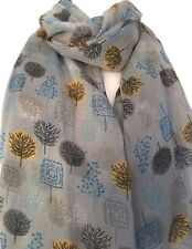 Grey Scarf Blue Mustard Trees Wrap Ladies Yellow Black Tree Shawl Floral Print