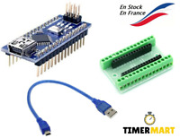 Lot de Carte Nano Arduino Atmega328 compatible+ Câble USB + Bouclier Nano shield