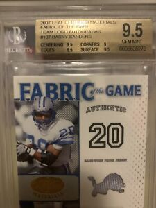 2007 Leaf Certified Barry Sanders Auto 5/5 Game Worn Jersey
