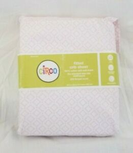 Circo Lattice Pink & White 100% Cotton Fitted Crib Sheet NIP