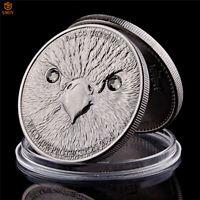 Asian Falco Cherrug Wild Protection Animal Platinum Antique Silver Souvenir Coin