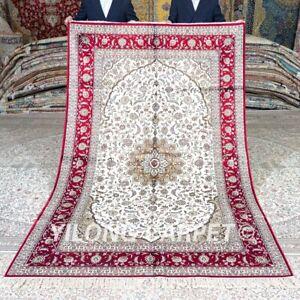 Yilong 5'x8' Pink Handwoven Silk Carpet Dining Room Handmade House Rug 412B