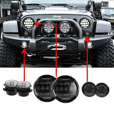 """7'' LED Headlight Amber Signal Turn Light 4"""" Fog Lamp Kit for Jeep Wrangler JK"""