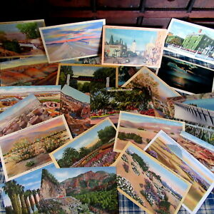 LOT Color Linen Photo Postcards USA Travel Unposted AZ CA NM ME NC NY SCENES HWY