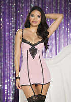 Shirley of Hollywood Gloss Flow Chemise with Attached Garters, Pink/Black
