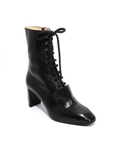Gibellieri 226 Black Leather / Zip Lace Up Ankle Heel Boots 38 / US 8
