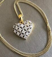 "Large 9ct Yellow Gold Diamond Heart Necklace 0.50ct Pendant & Chain 18"" Hallmark"