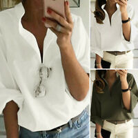 ZANZEA Women Long Sleeve Casual Shirt Tops V Neck Stand Collar Loose Blouse Plus