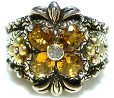 Flower Citrine Cocktail Ring Large Barbara Bixby Sterling Silver 18K Gold