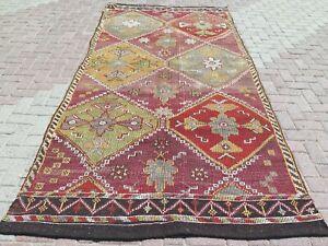 "Large Rug, Vintage Turkish Kilim Rug, Kelim, Area Rug, Carpet, Teppiche 63""X124"""