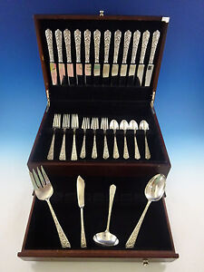 Radiant Rose by International Sterling Silver Flatware Service 12 Set 52 Pieces