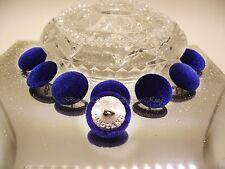 Set 8 Bottoni Coperto Tessuto in Velluto Blu Profondo Inghilterra in Metallo Argento Taglia 25 mm