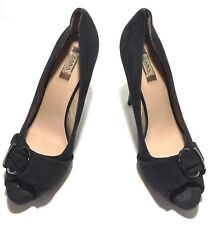 ZARA Collection Black solid Suede heels 39 8