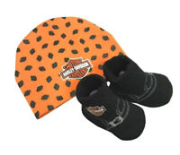 Harley-Davidson® Newborn Infant Boys Beanie Hat & Booties Shoes Set 7050879