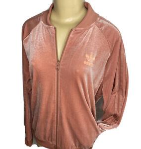 Adidas Originals Track Jacket Velvet Velour Raw Pink Trefoil Firebird Women XL