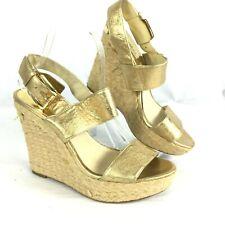 Michael Kors Womens Gold Tan Leather Rope Wedge Sandal Sz 9