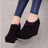 Stylish New Ladies Ankle Boots Wedge Heel Casual Leisure Shoes Pumps Size UK5