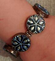 Antique/Vintage Glass kaleidescope Button and Sterling Silver Bracelet