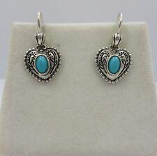 Sterling silver heart Turquoise women drop dangle earring 925 SU