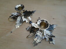 60s 70s VINTAGE PAIR BRASS HOLLY LEAVES & BERRIES CANDLE HOLDERS
