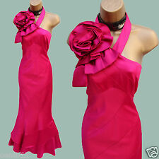 14 UK Karen Millen Pink Rose Corsage One Shoulder Wedding Prom Maxi Long Dress