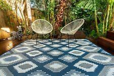 200 x 270 cm Positano Blue/White/Grey Outdoor/Indoor Plastic Rug/Mat Waterproof