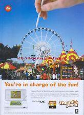 "Theme Park ""Nintendo DS"" 2007 Magazine Advert #4921"