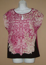 Womens Size Medium Short Sleeve Summer Fashion Magenta Floral Blouse Top Shirt