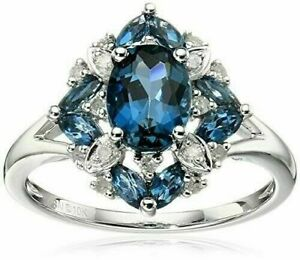 Fashion 925 Silver Blue Sapphire Rings For Women Wedding Party Jewelry Size 9
